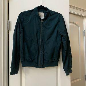 Anthropologie emerald bomber jacket size XS